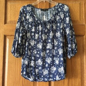 Fred David Blue with White Flowers Top PL